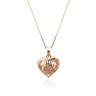 Hibiscus Heart Pink Gold Pendant