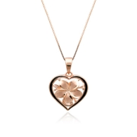 Heart Plumeria Pink Gold Pendant with Enamel