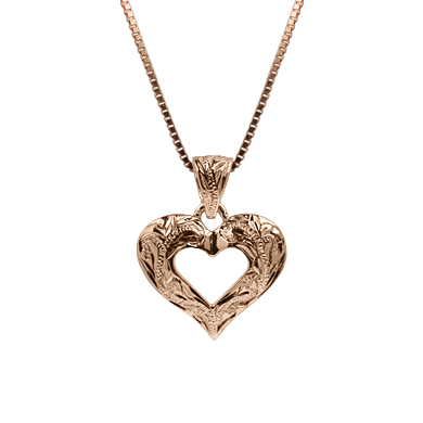 Hawaiian Heart Silver with Pink Gold Finish Pendant