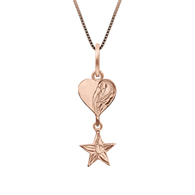 Heart and Star Charm Silver with Pink Gold Finish Pendant