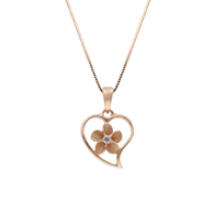 Heart with Plumeria Center Pink Gold Pendant