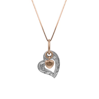 Two Tone Heart with Heart Charm Gold Pendant
