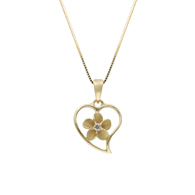 Heart with Plumeria Center Yellow Gold Pendant