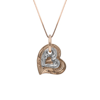 Honi Double Heart White on Pink Gold Pendant