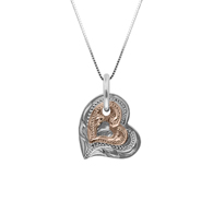 Honi Double Heart Pink on White Gold Pendant