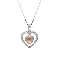 Two Tone Nalani Heart with Heart Charm Gold Pendant